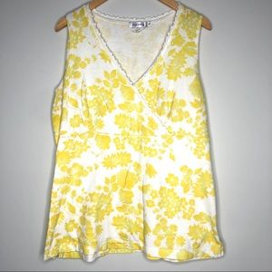 Fresh Produce yellow floral crossover tank xl
